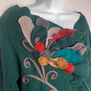 ANTHRO - Sleeping on Snow Flower Applique Cardigan